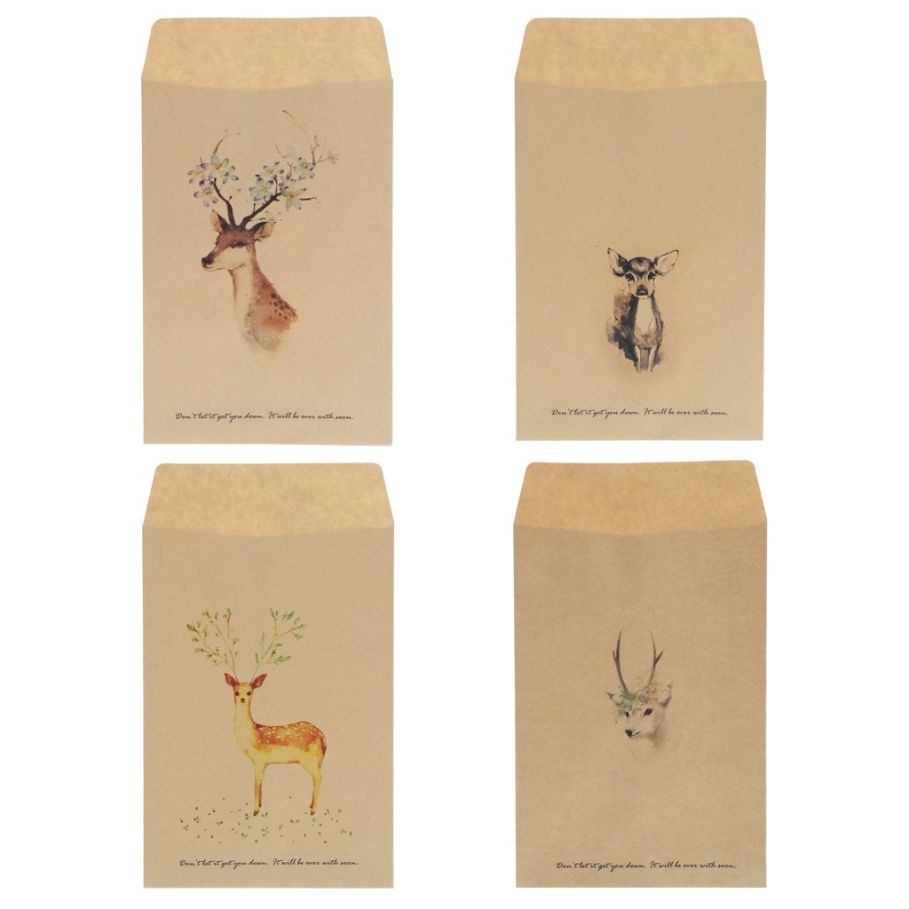 Redriver Mini Paper Envelope Card Scrapbooking Gift Vintage Deer 7.28x4.33'' 12Pcs