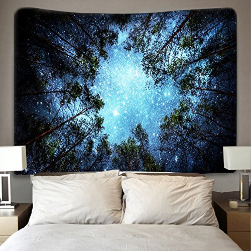 Forest Starry Tapestry, Home 3D Forest Tapestry Tree Night Sky Tapestry, Living Room Bedroom Decoration Tapestry, Mattress, Tablecloth (51.2