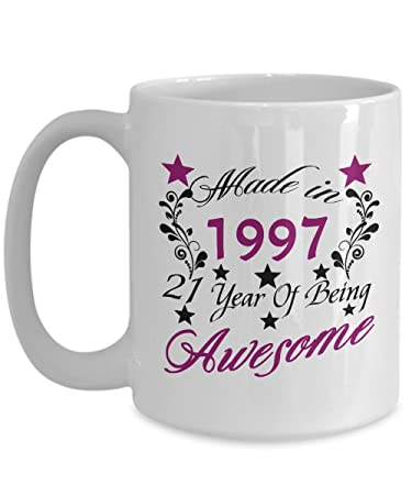made in 1997 21 year of being awesome 15 oz 21 year old girl gifts