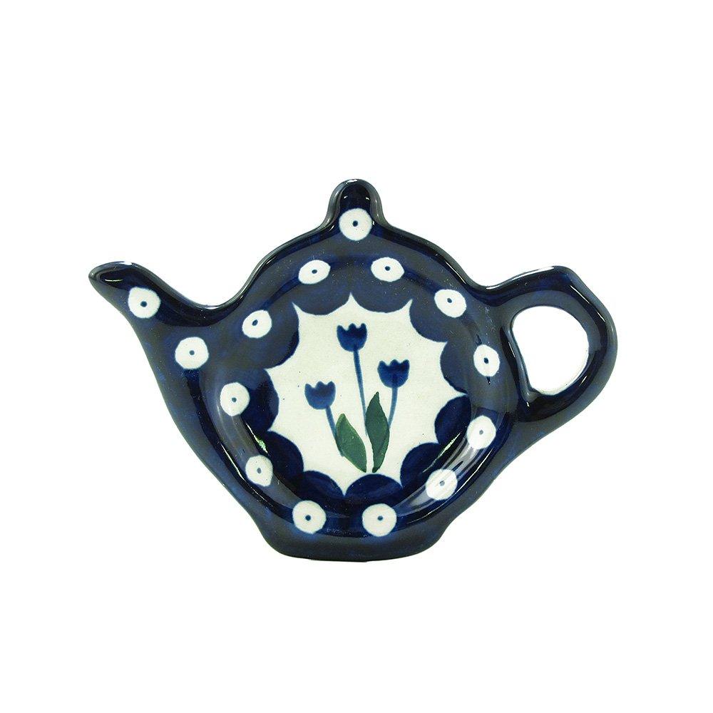 Polish Pottery Handmade Teapot Teabag Holder Traditional Stoneware Pattern 766-377Z