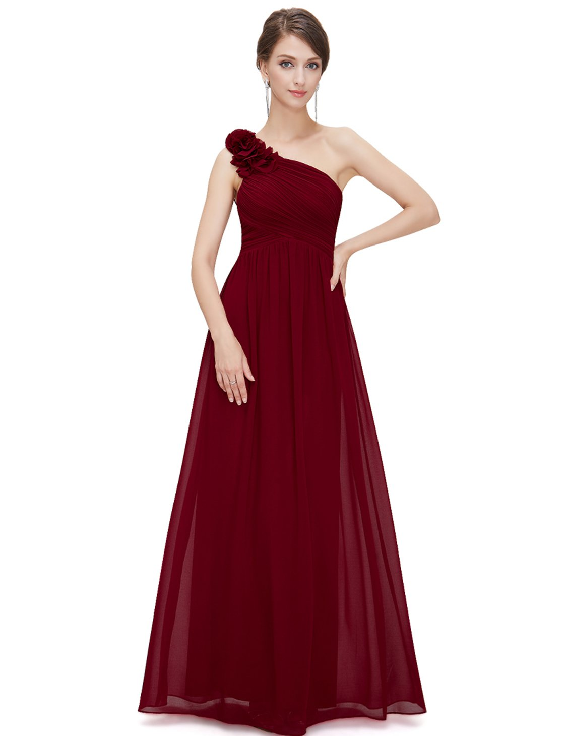 Ever-Pretty One Shoulder Ruffles Bridesmaid Dresses Plus Size 6US Red