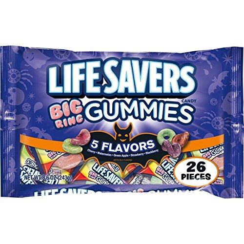 Lifesavers 5 Flavors Big Ring Gummies Halloween Candy Bag, 26 Fun Size Pieces, 8.6 ounces (Savers Halloween Sale)