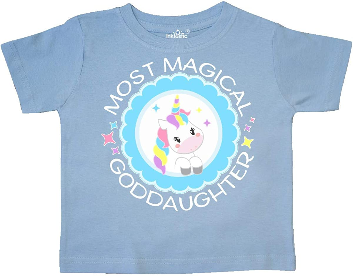 Cute Unicorn Badge Toddler T-Shirt inktastic Most Magical Goddaughter