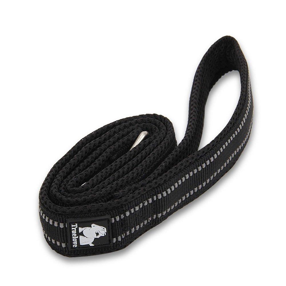 Black S 44\ Black S 44\ Fashion Shop Pet Product Sandwich Mesh Padded 3M Reflective Outdoor Adventure Dog Leash (S 44 , Black)