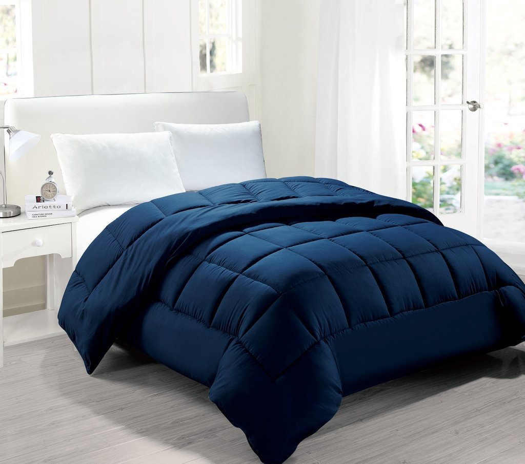 Legacy Decor Full/Queen size Down Alternative Comforter, Hypoallergenic anti-dust mite anti-bacterial, Navy Blue Color