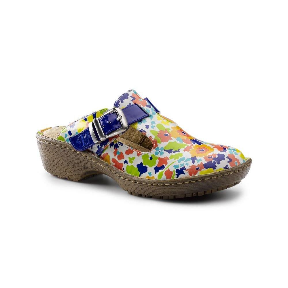 [Lila SureGrip] Womens Bailey Blue Floral Open Back Clog Slip Resistant作業靴 Cloud/Navy B01HIEO9TI