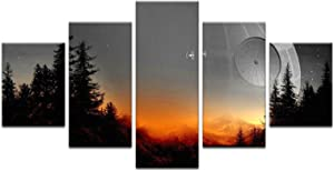 Star Wars Death Star 5 Panel Canvas Print Wall Art Space Canvas Painting For Bedroom Decor (20x35 20x45 20x55cm)
