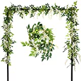 Ivalue Artificial Hanging Flowers Silk Wisteria Vines Ratta 4pcs 6.6Ft/piece Fake Garland Flowers for Wedding Decoration (White, 2M)