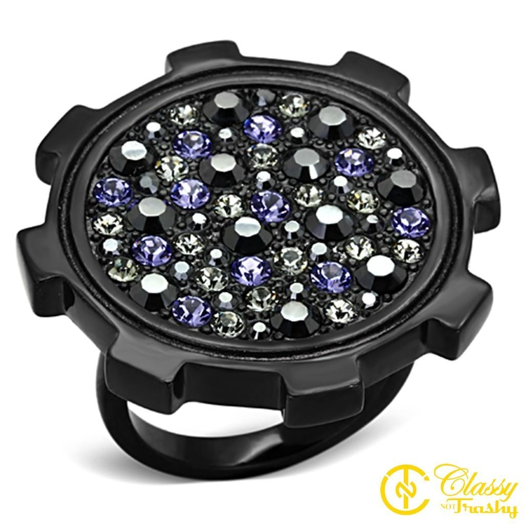by Classy Not Trashy/® Premium Grade High Quality Stainless Steel Multi Color Top Grade Crystal Womens Fashion Jewelry Ring