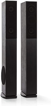 auna Line 4707 Altavoces Verticales - Altavoces de 4 vías Hi-fi , para Home Cinema , Potencia máxima : 960 W , 4 - 8 Ohm , Cubierta Frontal extraíble , Recinto acústico de Reflector de Bajos , Negro