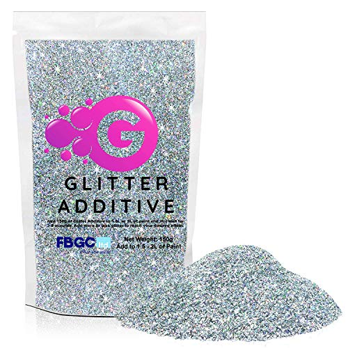 150g Holographic Silver Glitter Paint Additive - 2 x Buffing Pads Included - Mix with Any Emulsion Paint for Perfect Luminous Paint Finish on Interior or Exterior Walls, Ceilings, and Wood
