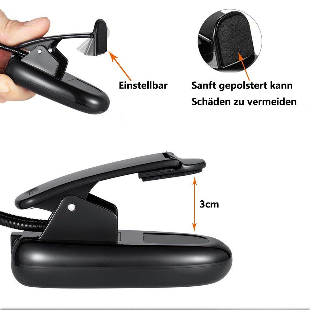 Buch Black Notenst/änder Arbeitsplatzleuchten ShareMoon Leselampe Buchlampe Tragbare 4-Helligkeit Doppelkopf Flexibel Batteriebetrieben und USB Stromversorgung mit USB Kabel Klammer f/ür Kindle