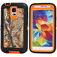 MOONCASE Galaxy S5 Case, [Realtree Camo Series] 3 Layers Heavy Duty Defender Hybrid Soft TPU +PC Bumper Triple Shockproof Drop Resistance Protective Case Cover for Samsung Galaxy S5 -Orange Tree