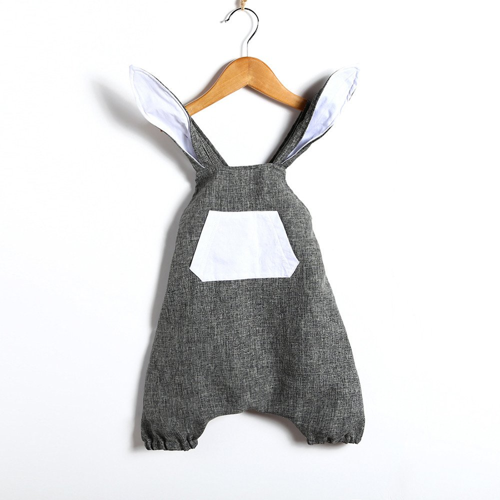 abff59477c1 Amazon.com  Adorable Romper Overalls for Newborn Baby Girls Easter Rabbit  Jumpsuits Backless Onesie Summer Outfits Clothes for 0-3 Y  Clothing