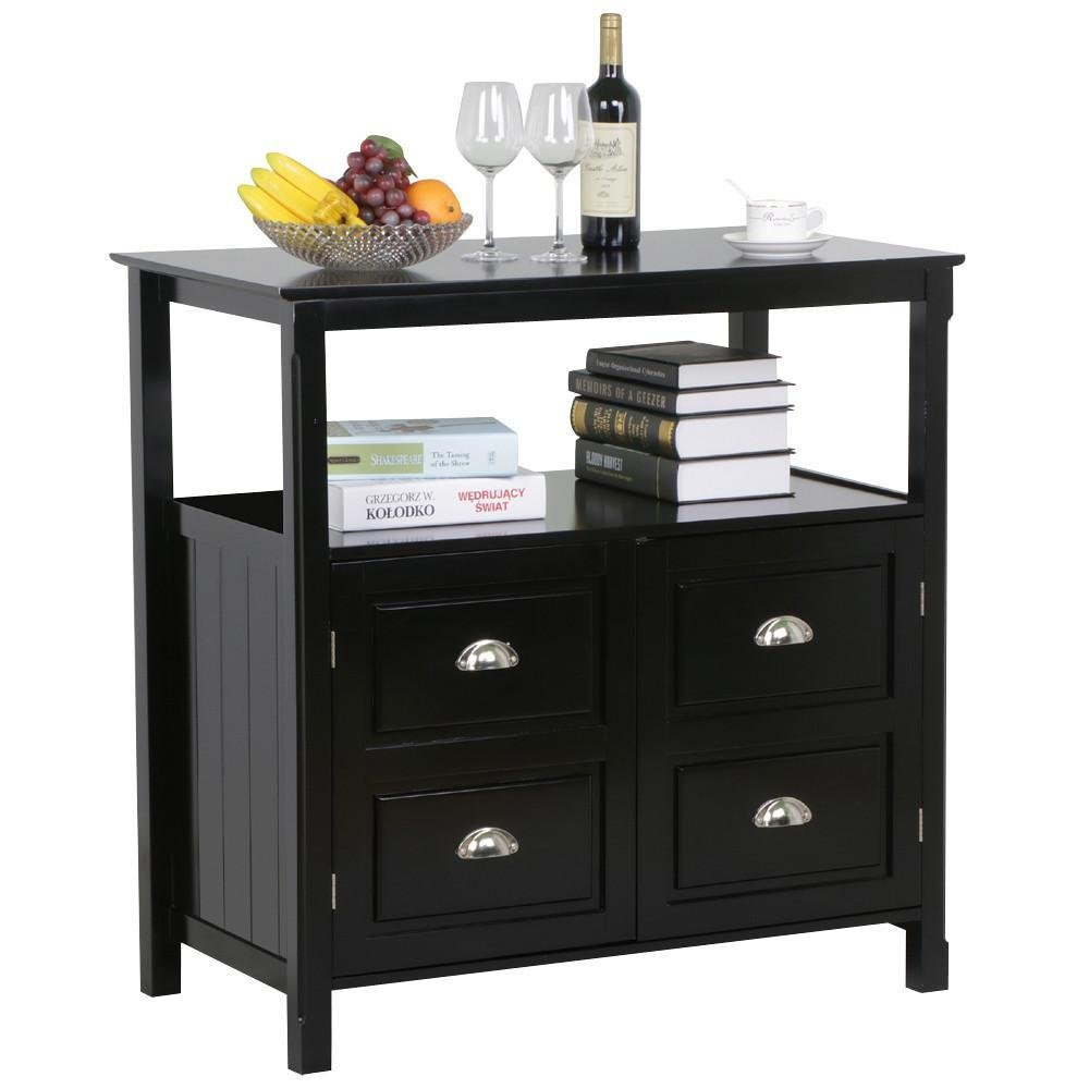 World Pride Black Gloss Buffet Sideboard Cabinet Table Drawer Door Open Display Shelf Cupboard Dining Room Furniture