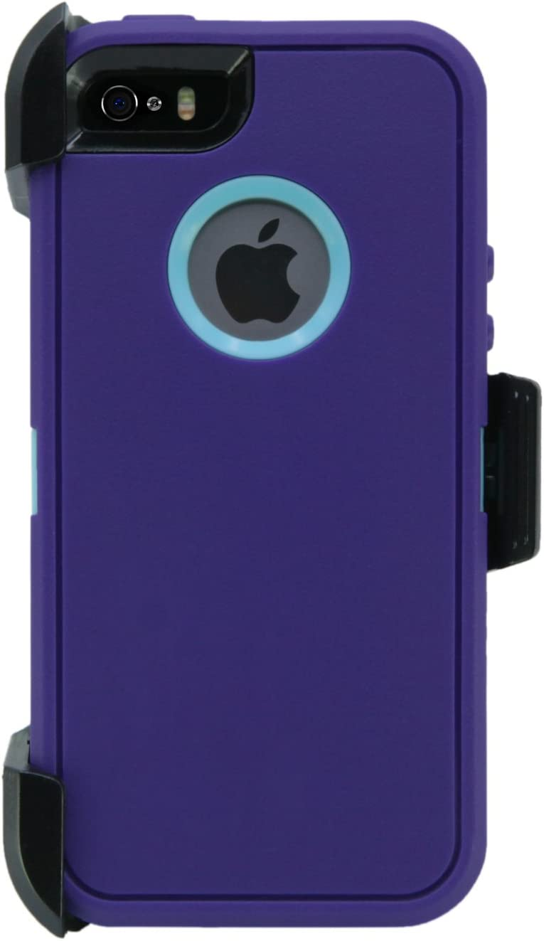 WallSkiN Turtle Series Belt-Clip Cases for iPhone 5S / 5 / SE (2016), 3-Layer Full Body w Screen Protector, Life-Time Protective Cover & Holster & Kickstand & Shock, Dust Proof - Purple/Blue