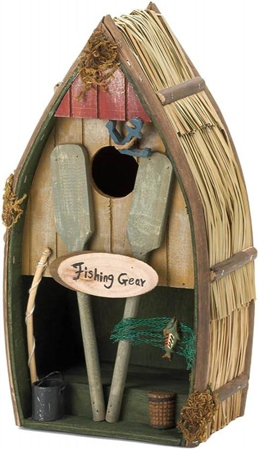 Decoración porche, patio, jardín con barco de pesca casa de pájaros: Amazon.es: Jardín