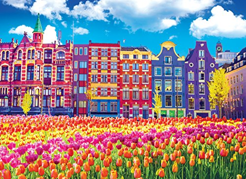 KODAK Premium Puzzles Traditional Old Buildings & Tulips in Amsterdam, Netherlands 1000 pc Jigsaw ()