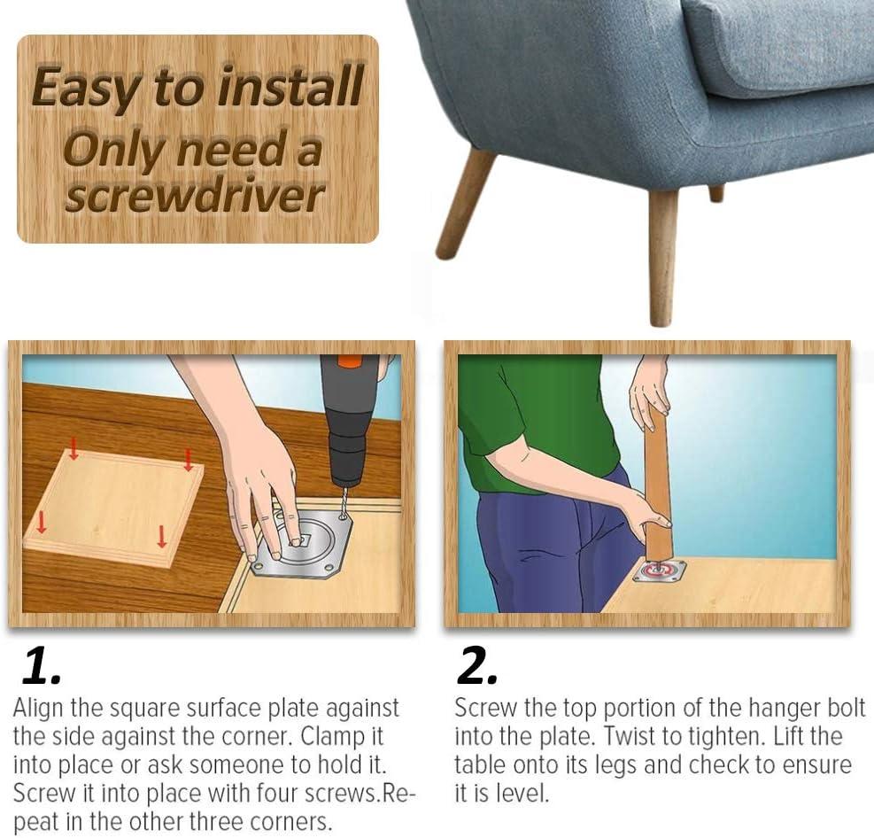silla con placas de montaje y tornillos para sof/á cama 8 cm//15 cm//20 cm armario pie inclinado 20 cm 4 unidades Patas de madera para muebles