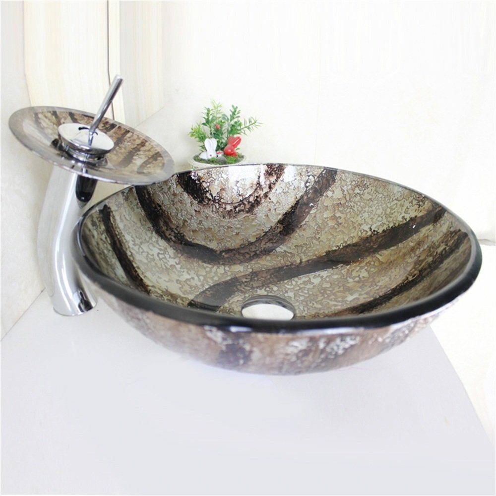 avec Robinet Cascade /à poser la salle de bain HomeLava Lavabo Vasque en Verre Tremp/é Gris
