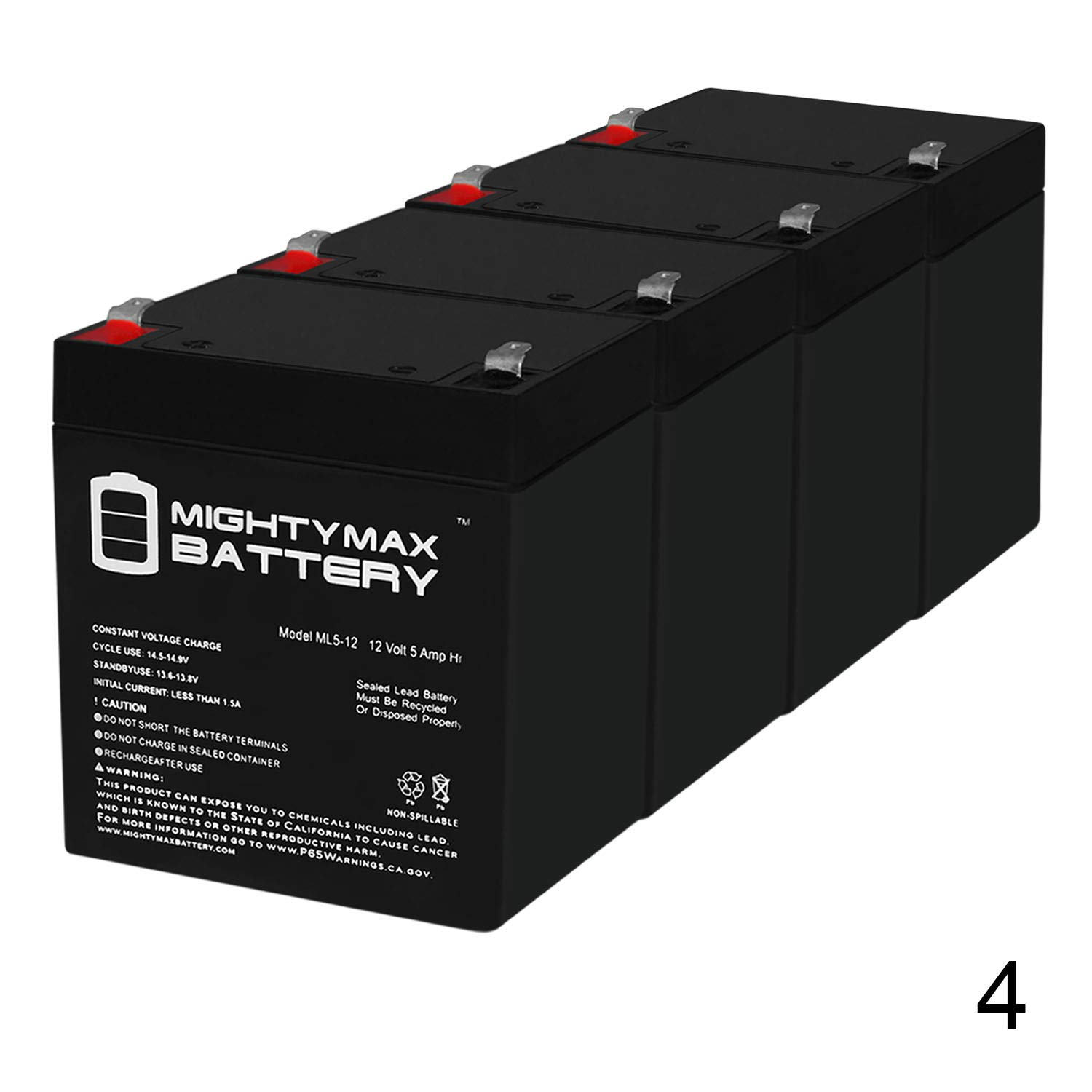 Mighty Max Battery ML5-12 - 12V 5AH Battery for Razor E100 E125 E150 E175 Electric Scooter - 4 Pack Brand Product by Mighty Max Battery