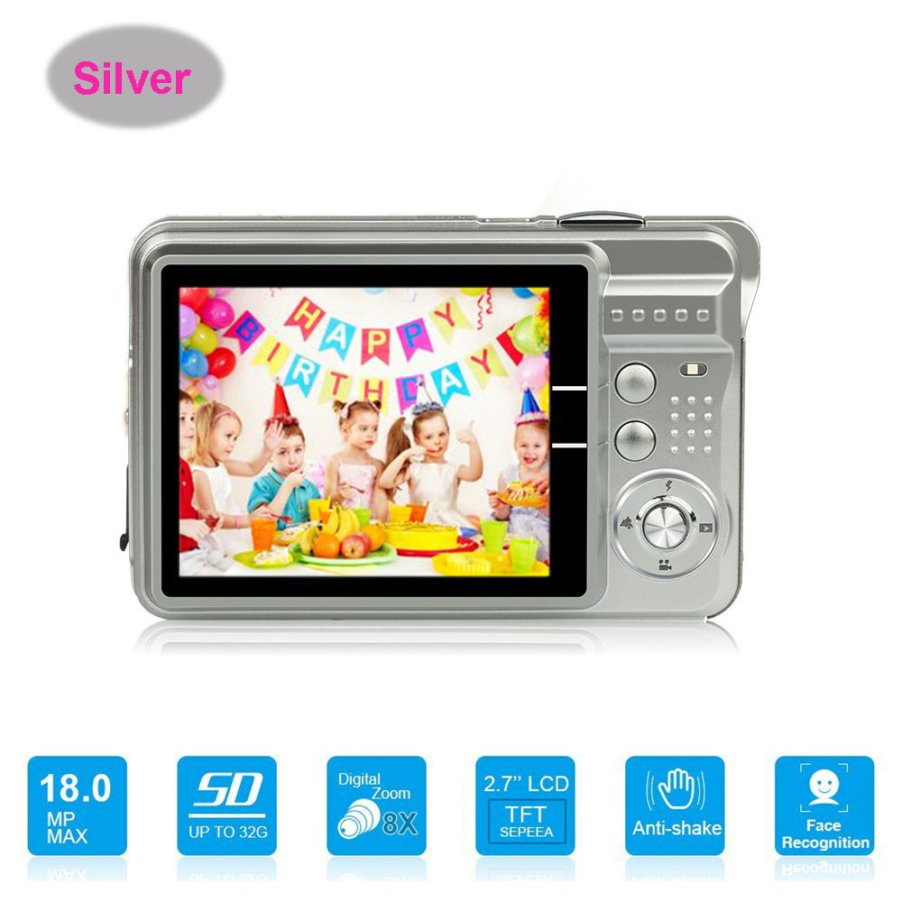 HD Mini Digital Camera with 2.7 Inch TFT LCD Display, Digital Video Cameras Students Cameras (Silver)- Sports, Travel, Indoor, Outdoor, Camping, Kids Birthday Gift