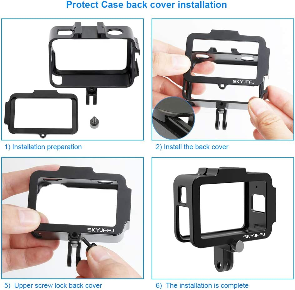 Compatible with DJI Osmo Action Camera Housing Cage Frame,with 2 Cold Shoe Mount,Universal Interface Expansion Accessories ,Aluminum Alloy osmo Action Camera Case