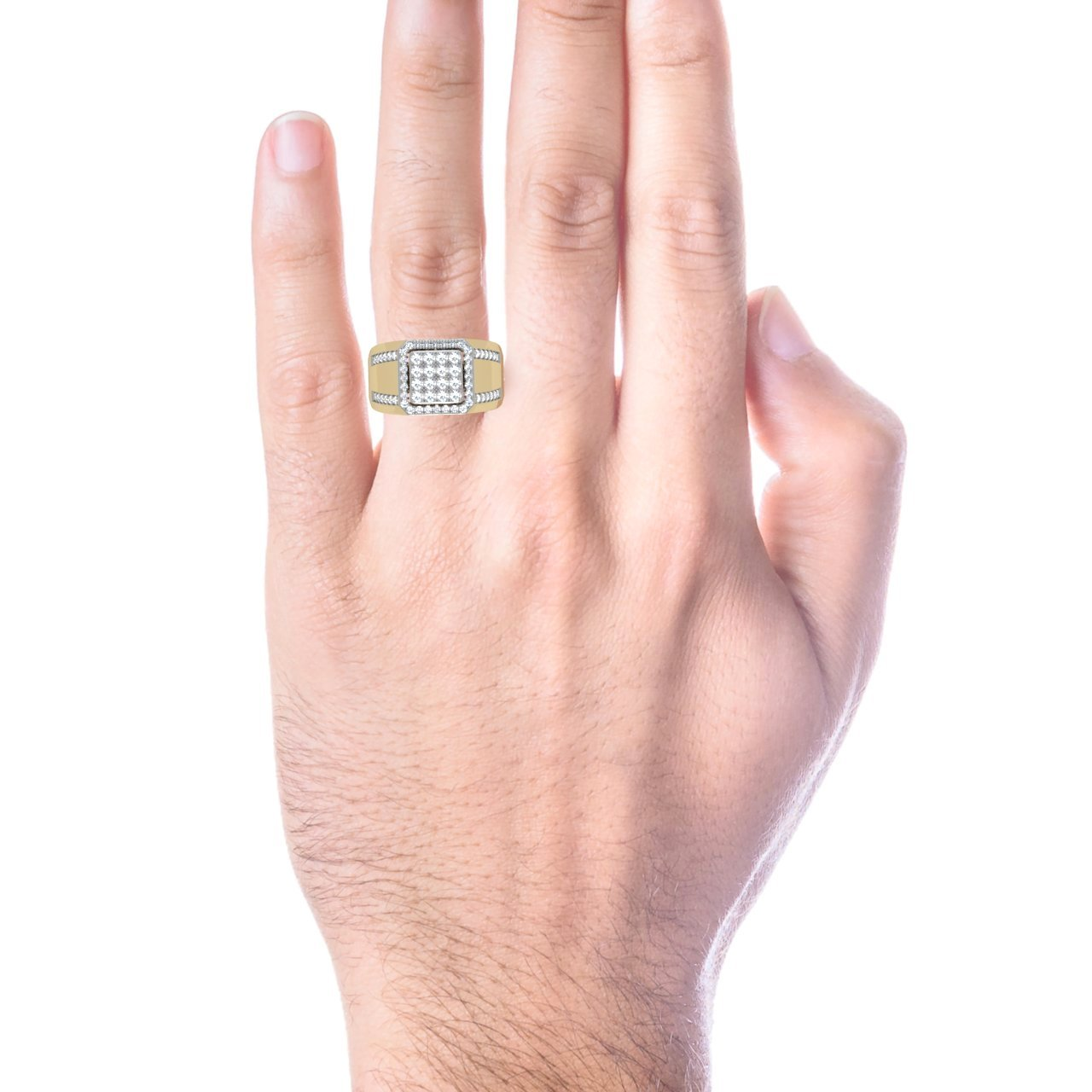 Trillion Designs 10K Yellow Gold 1 Ct Round Cut Natural Diamond ...