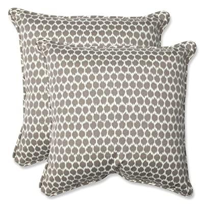 """Pillow Perfect Outdoor Seeing Spots Sterling Throw Pillow, Set of 2, 18.5"""", Brown - Includes two (2) outdoor pillows, resists weather and fading in sunlight; Suitable for indoor and outdoor use Plush Fill - 100-percent polyester fiber filling. The color is yellow and not white Edges of outdoor pillows are trimmed with matching fabric and cord to sit perfectly on your outdoor patio furniture - patio, outdoor-throw-pillows, outdoor-decor - 61pWxHp72ML. SS400  -"""
