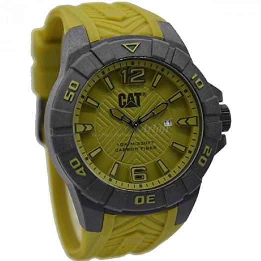 Cat Karbon Hombres del Reloj Militar Verde Dial 45,5 mm Verde Militar Silicona k1.121.23.331: Amazon.es: Relojes