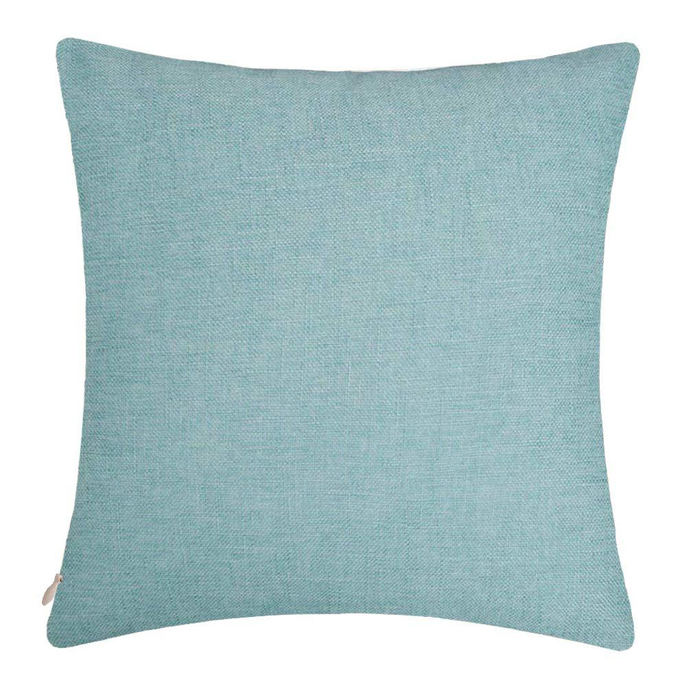 Bursonvic Cotton Linen Throw Pillow Cover, Home Farmhouse/Modern Decorative Solid Pillow Case Cushion Cover for Sofa (Light Teal, 24'' x 24'')