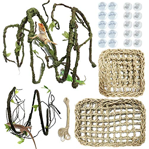PietyPet 25 pcs Reptile Lizard Habitat Decor Accessories, Bearded Dragon Hammock, Natural Seagrass Reptile Hammock with Artificial Climbing Vines and Plants for Chameleon, Lizards, Gecko, Snakes