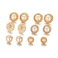 Shining Diva Fashion Combo of 6 Stylish Fancy Party Wear Pearl Stud Earrings For Women & Girls(white)(cmb260)