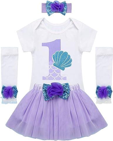 inhzoy Vestido de Fiesta Bautizo para Bebé Niña Vestido de Sirena ...