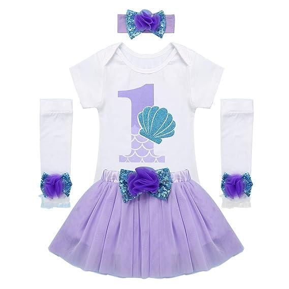 Agoky Vestido de Cumpleaños para Bebé Niña Set Vestido de Sirena ...