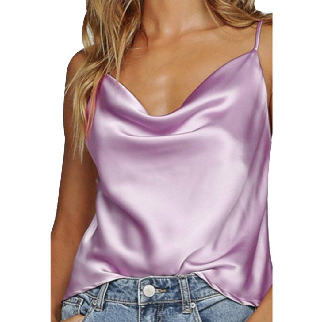 XWDA Women's Silk Satin Camisole Cami Plain Strappy Vest Tops Sleeveless Blouse Tank