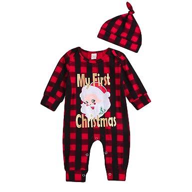 bb5f845c4 Amazon.com: ❤ Mealeaf ❤ Toddler Outfit Christmas Newborn Baby Girl Boy  Romper Plaid Santa Letter Print Jumpsuit Clothes Set 0-3t: Clothing