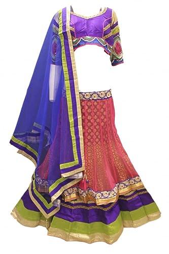 DCC2460 Corallo e Royal Blue Tradizionale Chaniya Choli Indian Bollywood Lengha Choli Bust Size 34 I...