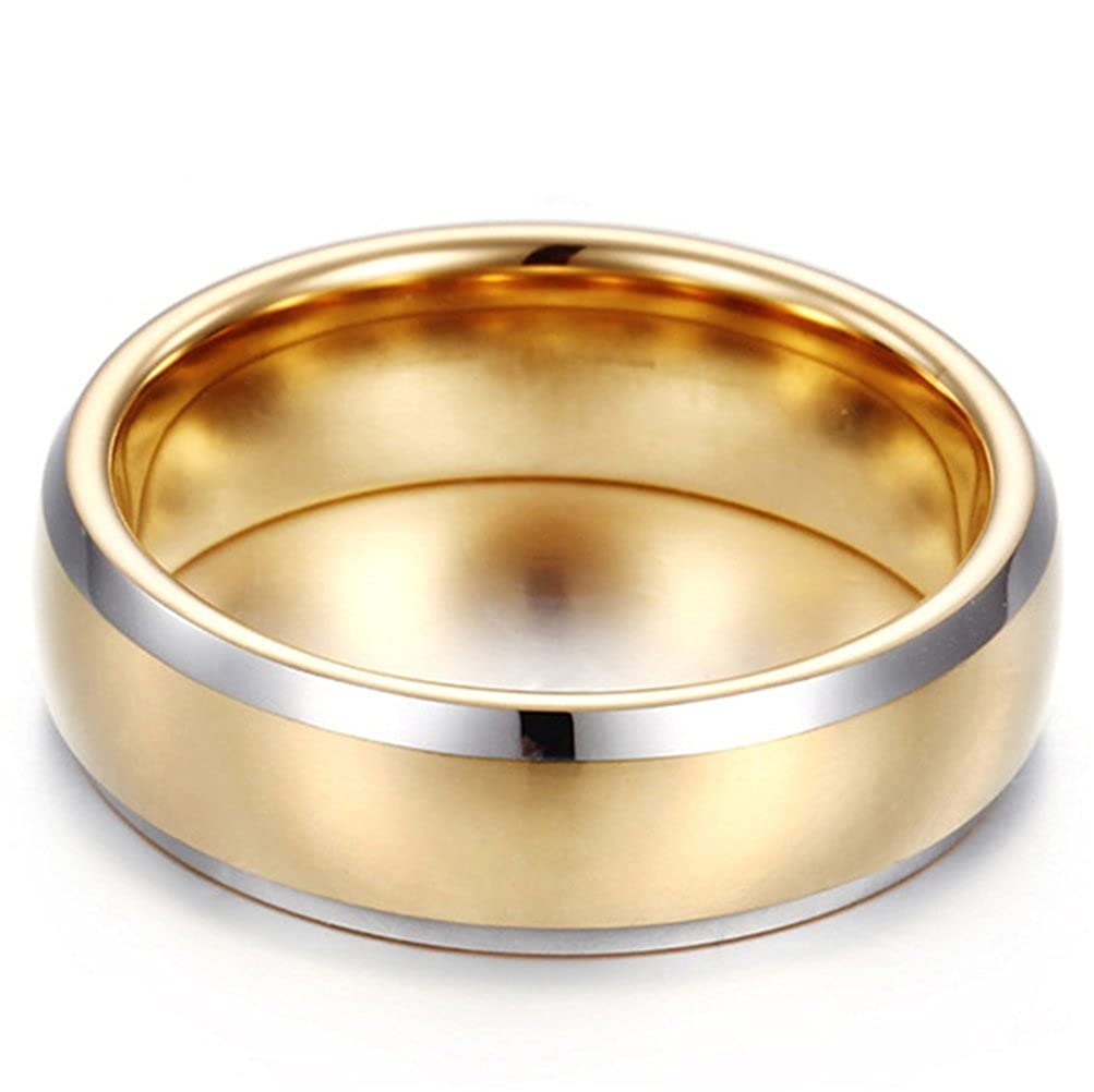 Fashion Month Mens Womens 7mm Tungsten Carbide Ring Domed 18k Gold Wedding Engagement Promise Band Silver Edge