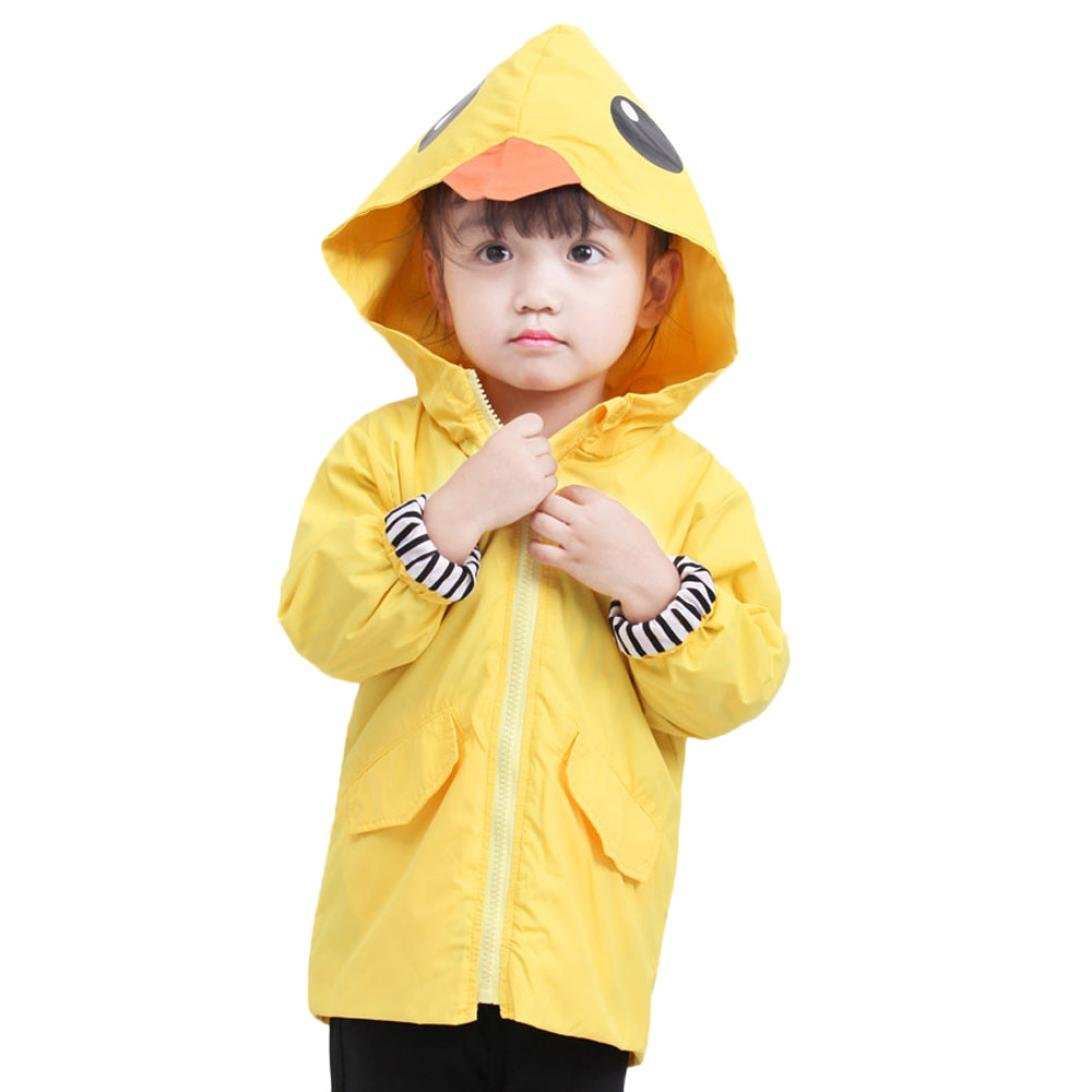Kids Baby Cartoon Animal Hooded Zipper Cloak Tops Long Trench Coat Outerwear Yellow Duck 1-5T (Yellow, 0-1 years Old)