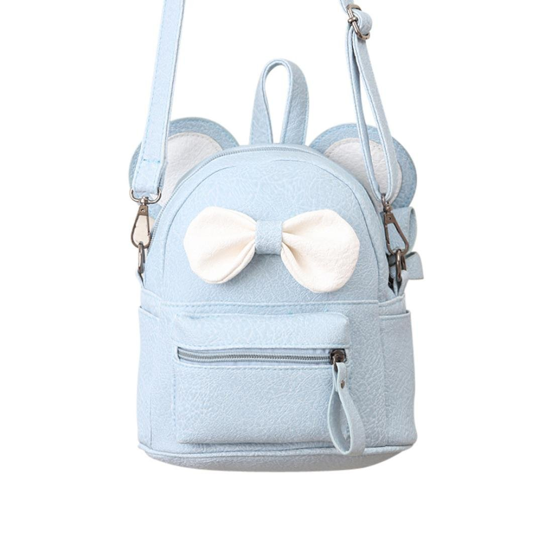 Sameno Leather School Bag Travel Backpack Satchel Bow Tie Women Shoulder Bag Girl Women (Light blue)