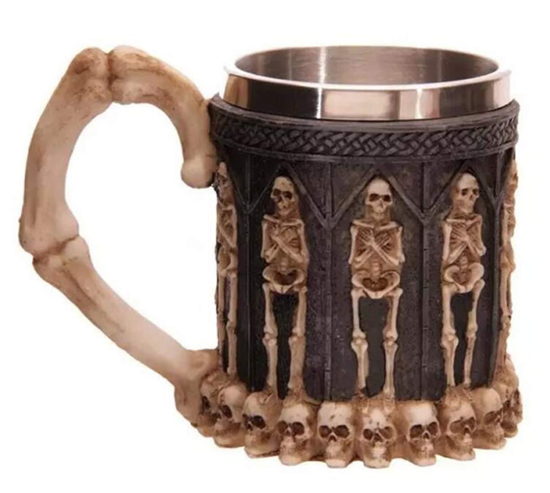 STEAM PANDA Tazza del Cranio in Acciaio Inossidabile Tazza del Cranio in 3D, Tazza del caffè del Cranio in Acciaio Inox per Bevande, caffè, Birra, Feste, Regali