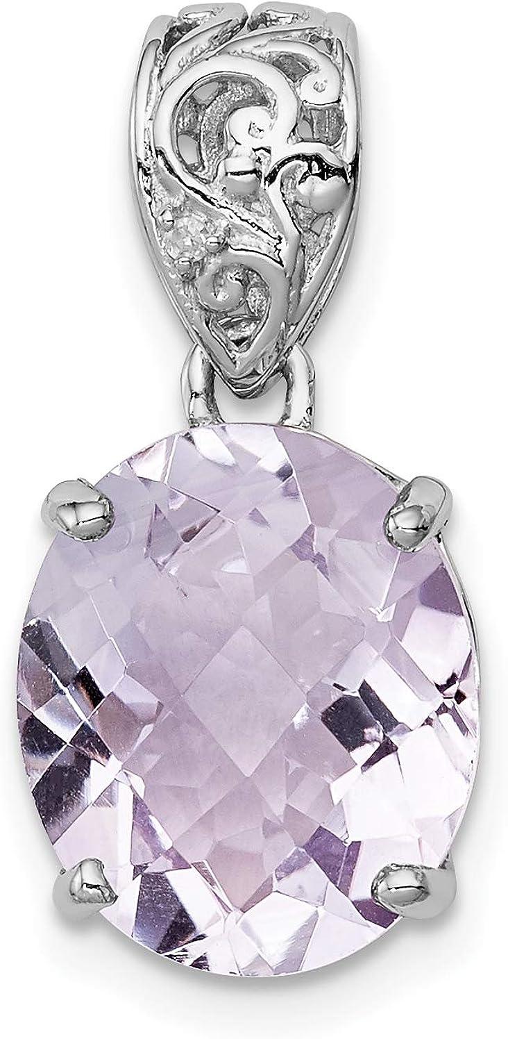 Sterling Silver Pink Quartz Diamond Pendant