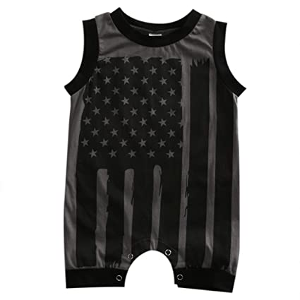 178499aa5cea Amazon.com   Cute Baby Boy Girl Patriotic 4th July Flag Stars Stripes  Romper Clothes Outfit (18 Months