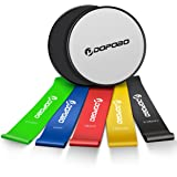 Gliding Discs Core Sliders and 5 Exercise Resistance Loop Bands, Dopobo Double-sided Sliding Discs, Resistance Bands for Intense, Low-Impact Exercises to Strengthen Core, Glutes, and Abs