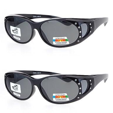 de19ebc3f03 2 Pair Polarized Rhinestone Fit Over Wear Over Prescription Glasses  Sunglasses - Black Black