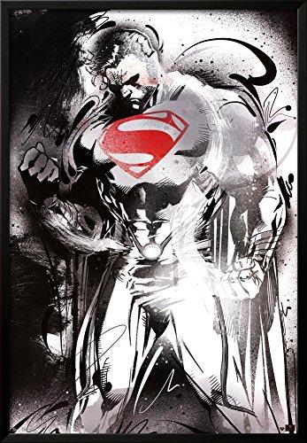 Man of Steel - Superman Red Logo Movie Poster Lamina Framed Poster Print, 26x38