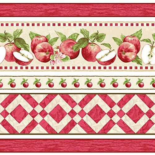 Apple Festival, Beautifully Illustrated Border Stripe, Apples, Blossoms, Red Checker, Henry Glass Fabrics, 1521-48
