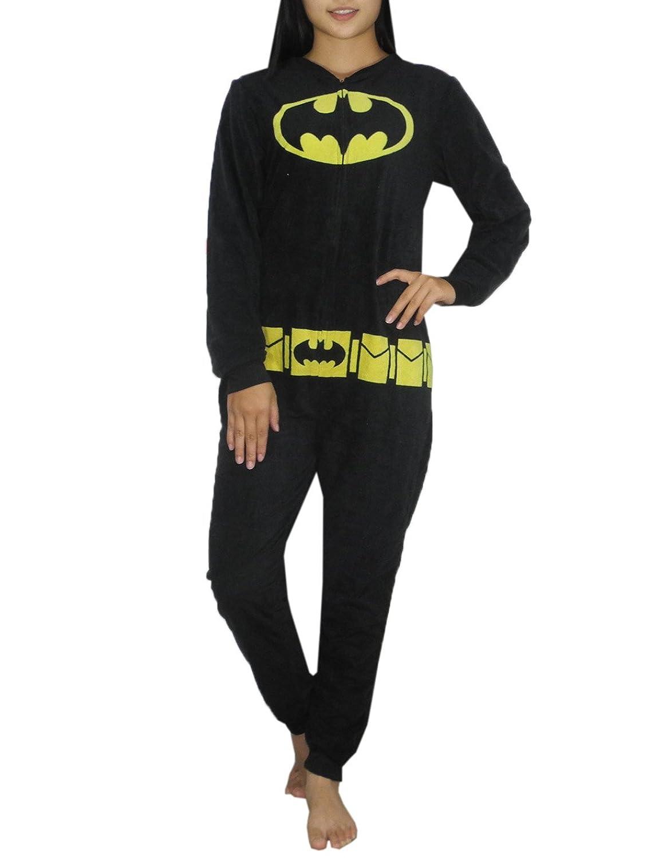 DC COMICS BATGIRL Womens One-Piece Polar Fleece Romper Jumpsuit