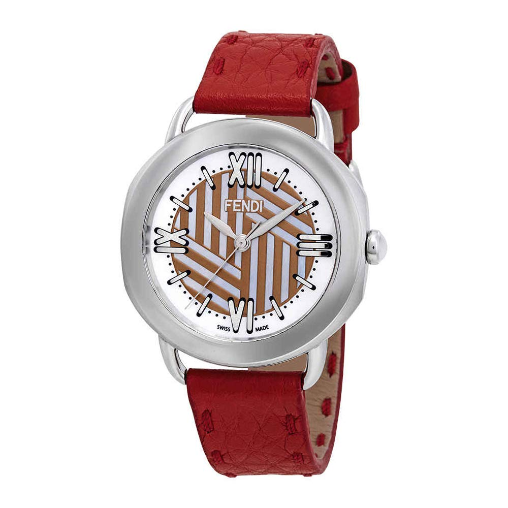 9e62bb39145c Amazon.com  Fendi Selleria Mother of Pearl Dial Ladies Watch F8110355H0-RD   Watches
